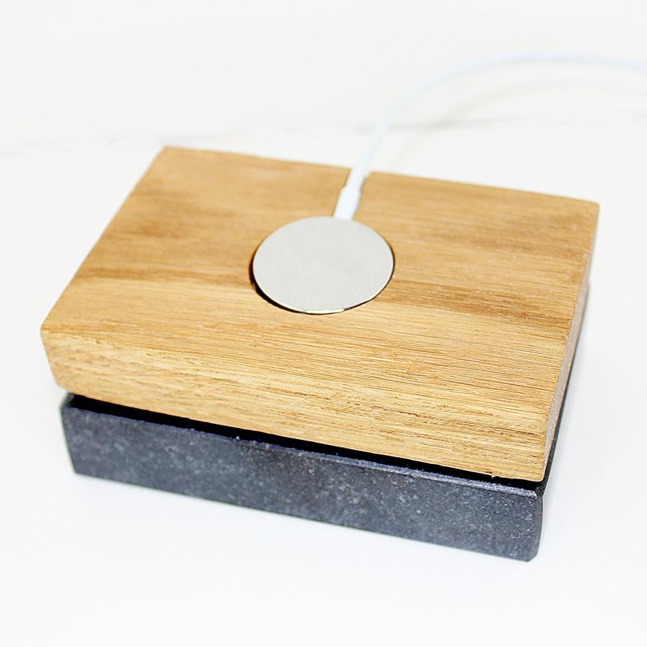 Dock chargeur bois et marbre Apple Watch