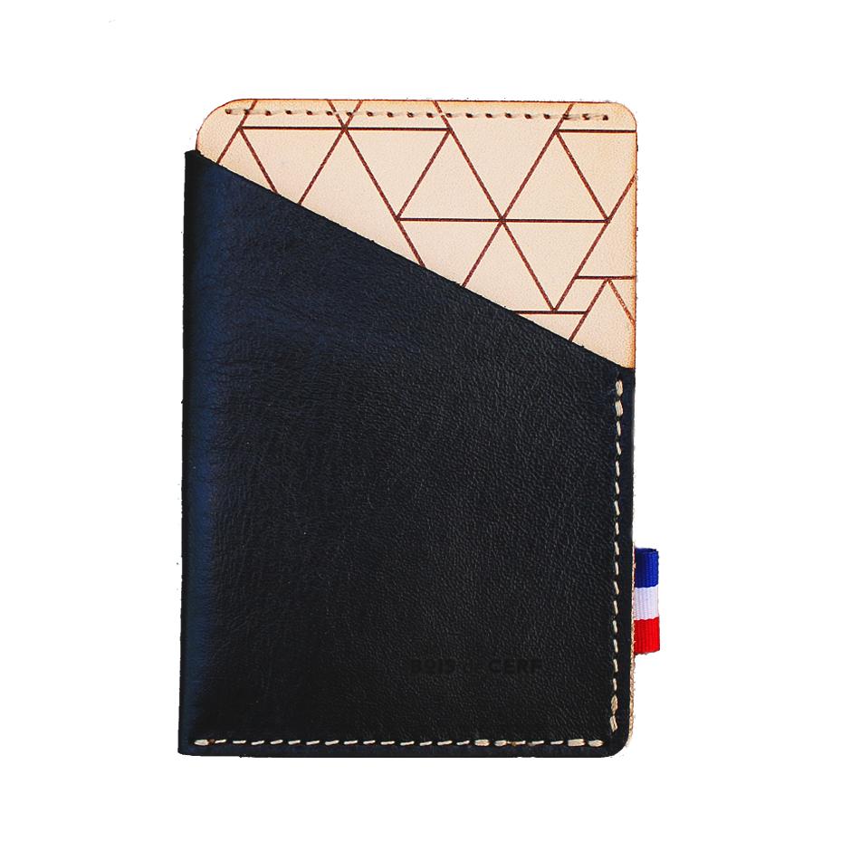 Porte-carte cuir - Geometrique
