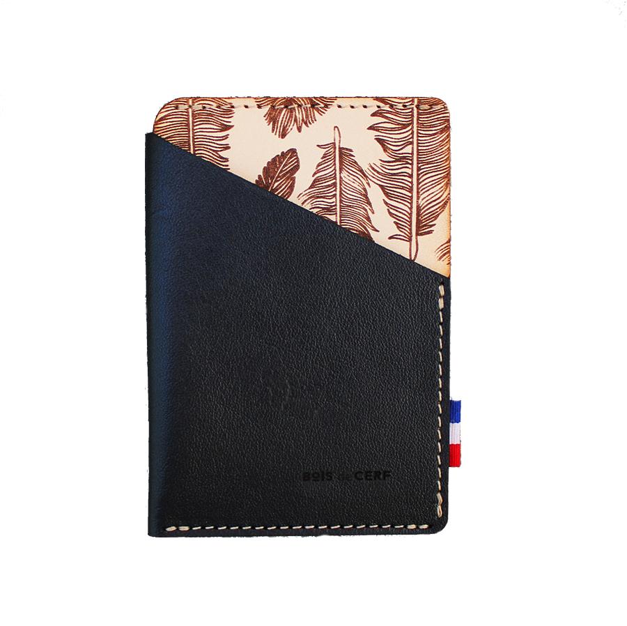 Porte-carte cuir - Plumes l'essentiel
