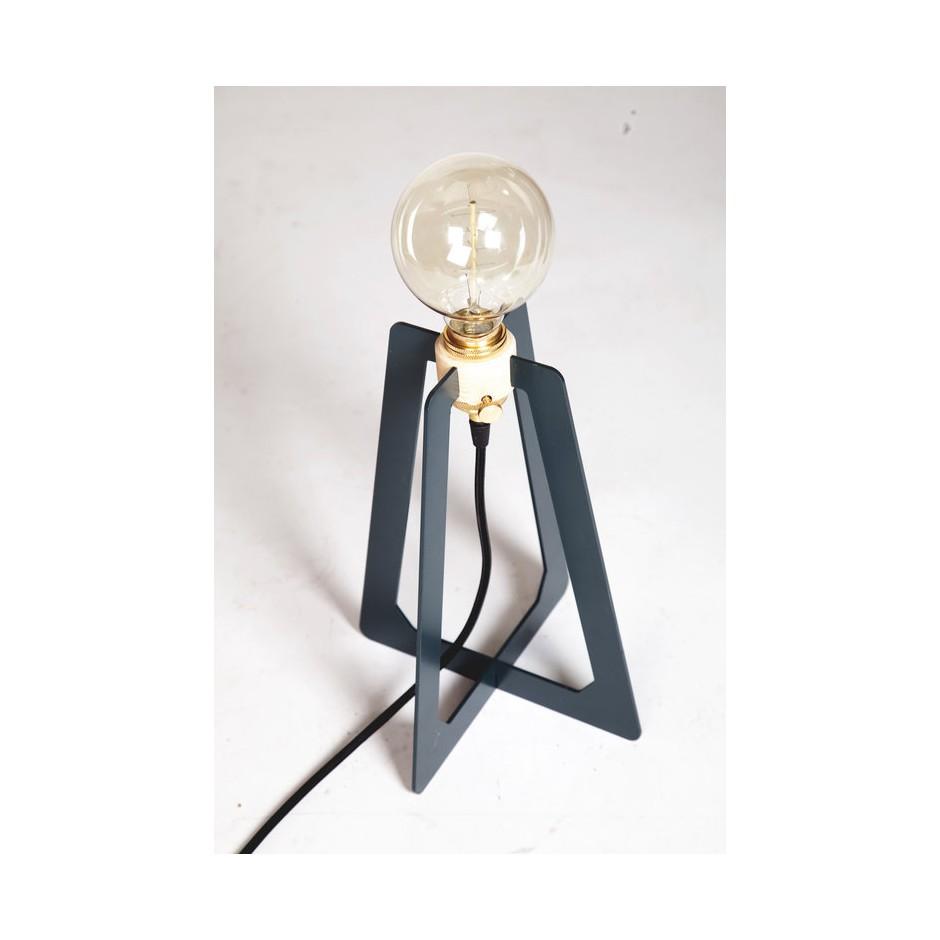 Lampe bureau contemporaine ampoule à filament bois et métal