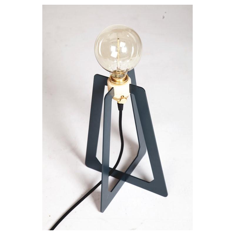 Lampe Bureau Contemporaine Ampoule A Filament Bois Et Metal Bois