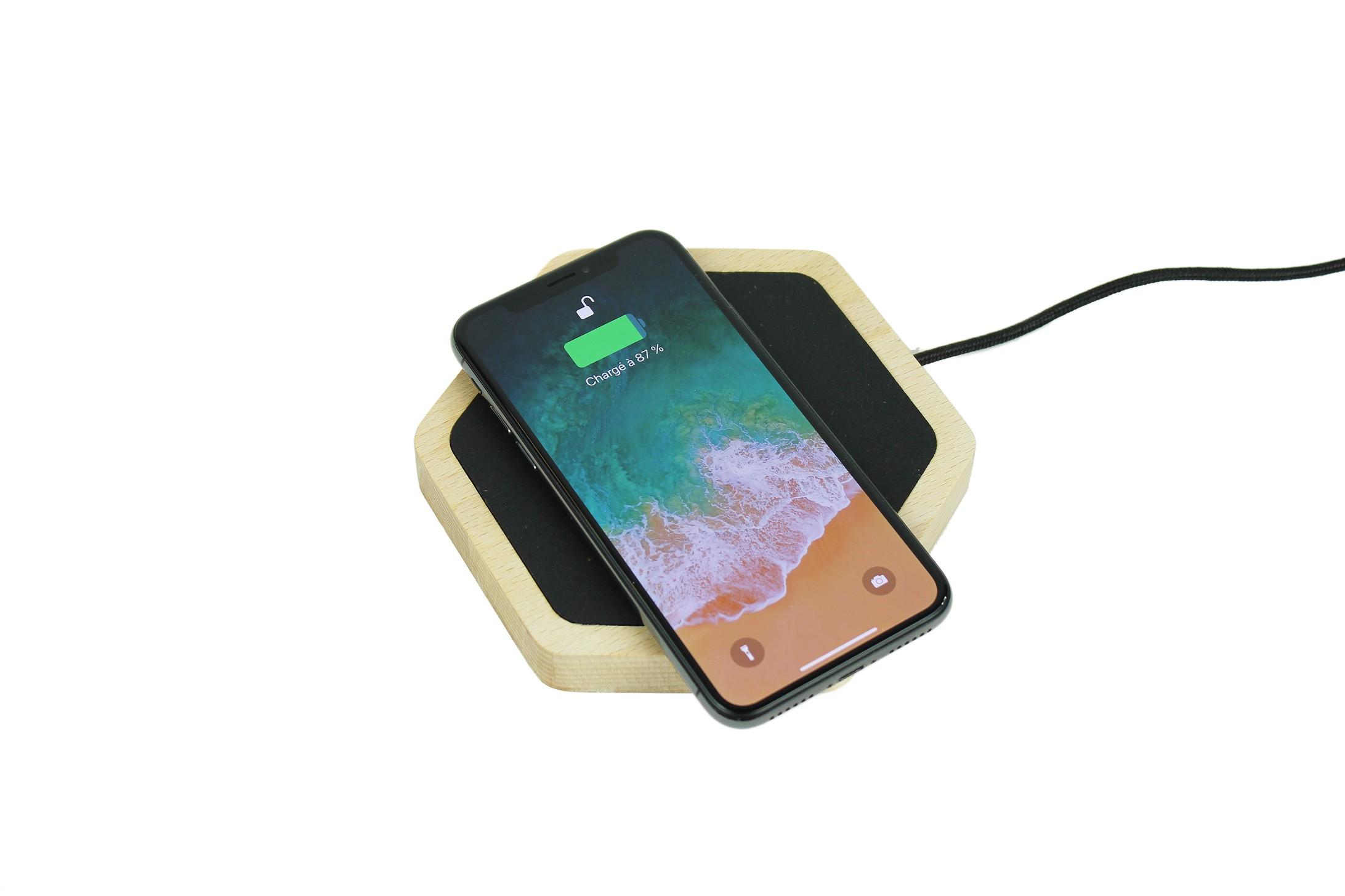 Chargeur sans fil bois iPhone X et iPhone 8 - QI