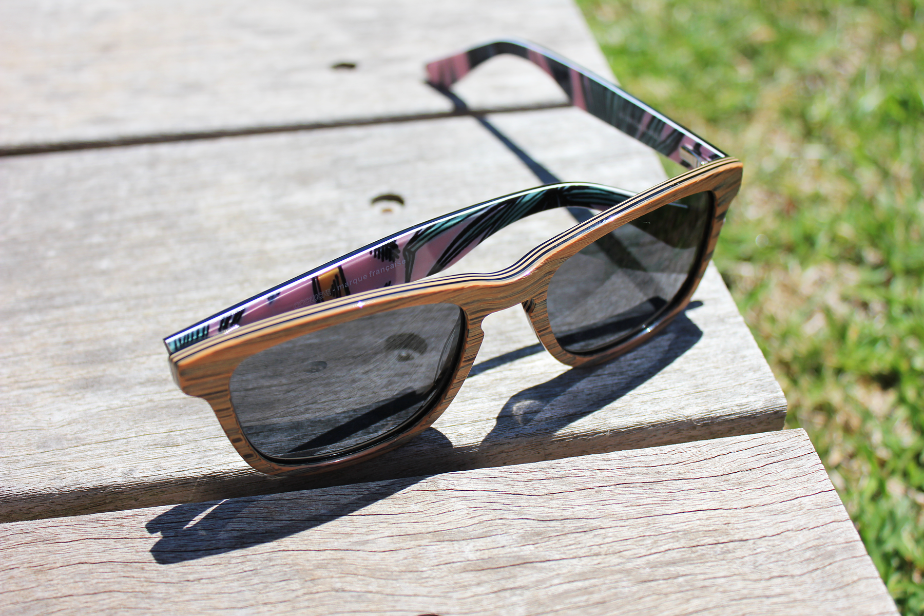 wood sunglasses with printing pattern wayfarer style cool summer